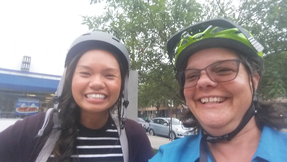 Riding to several bike shops helped one participant overcome her two major hurdles to riding: not knowing the road rules and not having a bike!