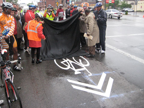 The unveiling of Columbus' first sharrow, in 2010. Source: ColumbusUnderground.com
