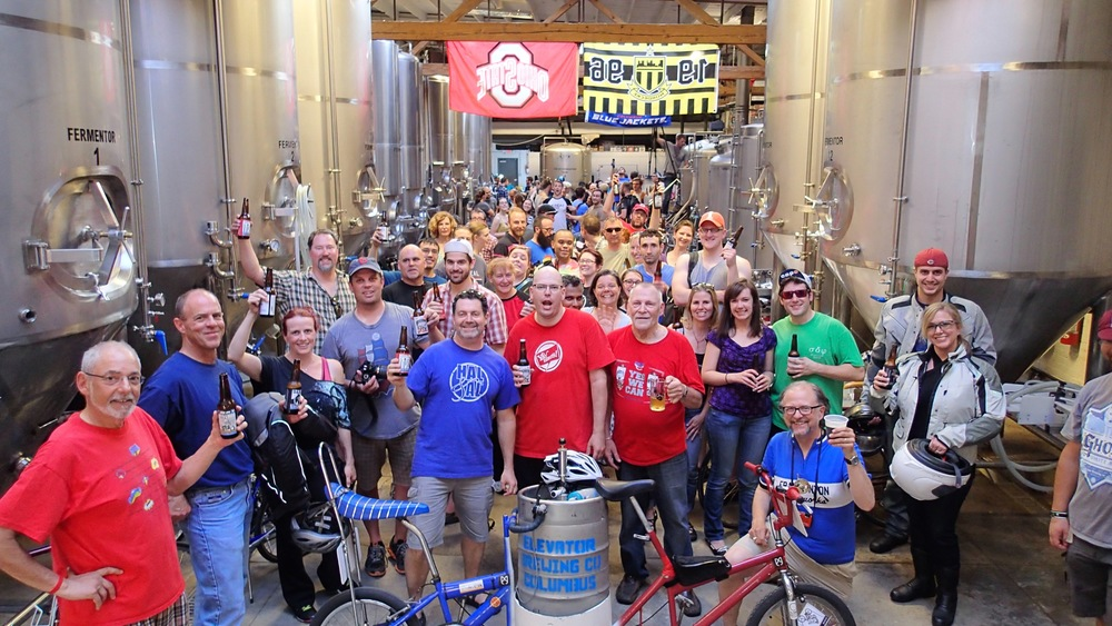 Riders congregate in Elevator Brewery's 13th Floor Taproom