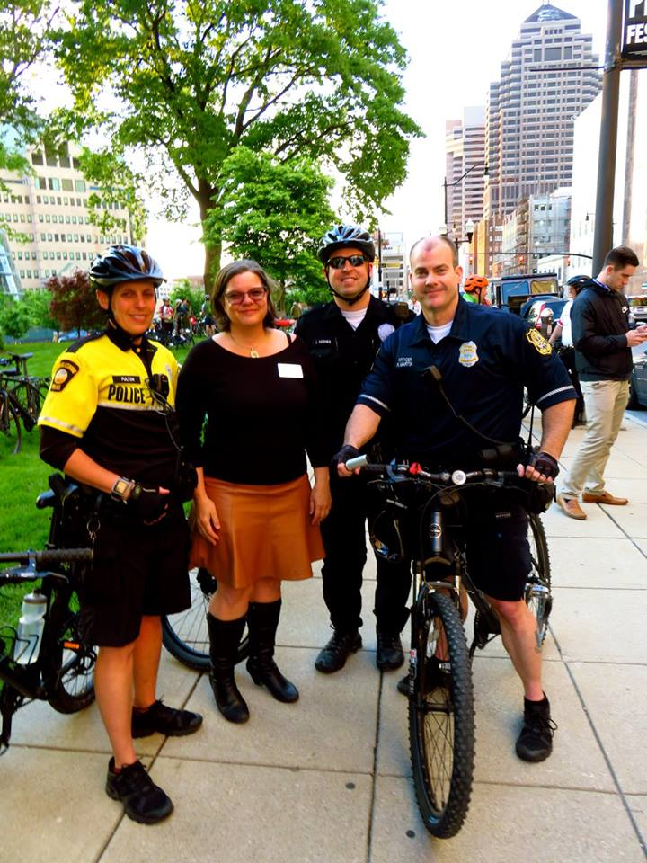 Our Executive Director with representatives of the Reynoldsburg, Upper Arlington and Grove City police forces at the 2016 Central Ohio Ride of Silence.