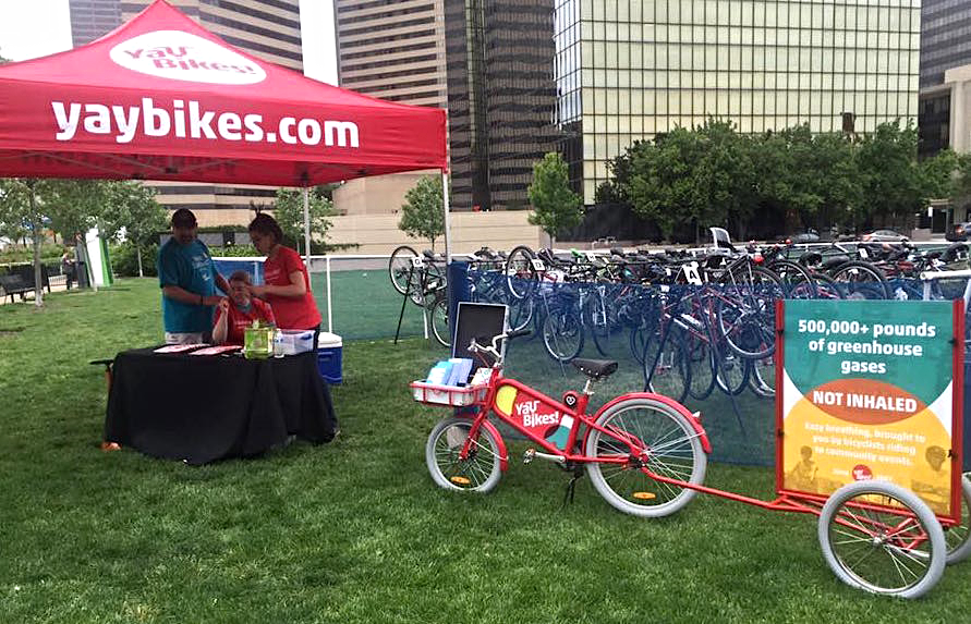 But a taste of what's to come: many elements of our new bike valets were on display at Columbus' Bike to Work Day celebration.