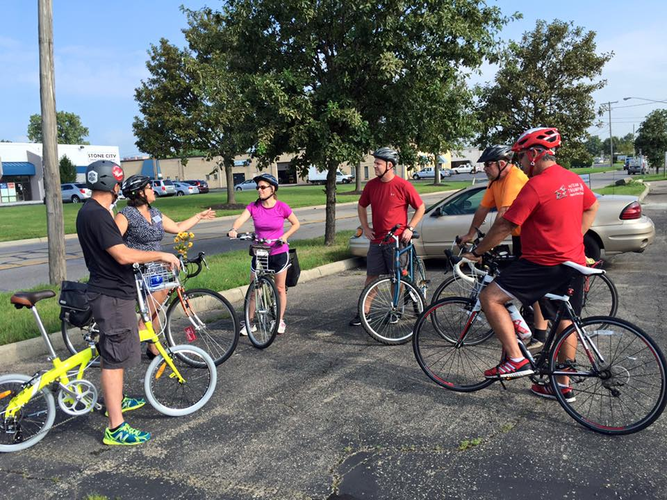 Leading a professional development ride for City of Worthington engineers, parks and utilities staff.
