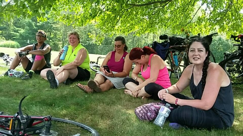 Some of the group opted to hang out under the shade of a tree while others ventured into the gardens. Photo credit: Keith Lugs