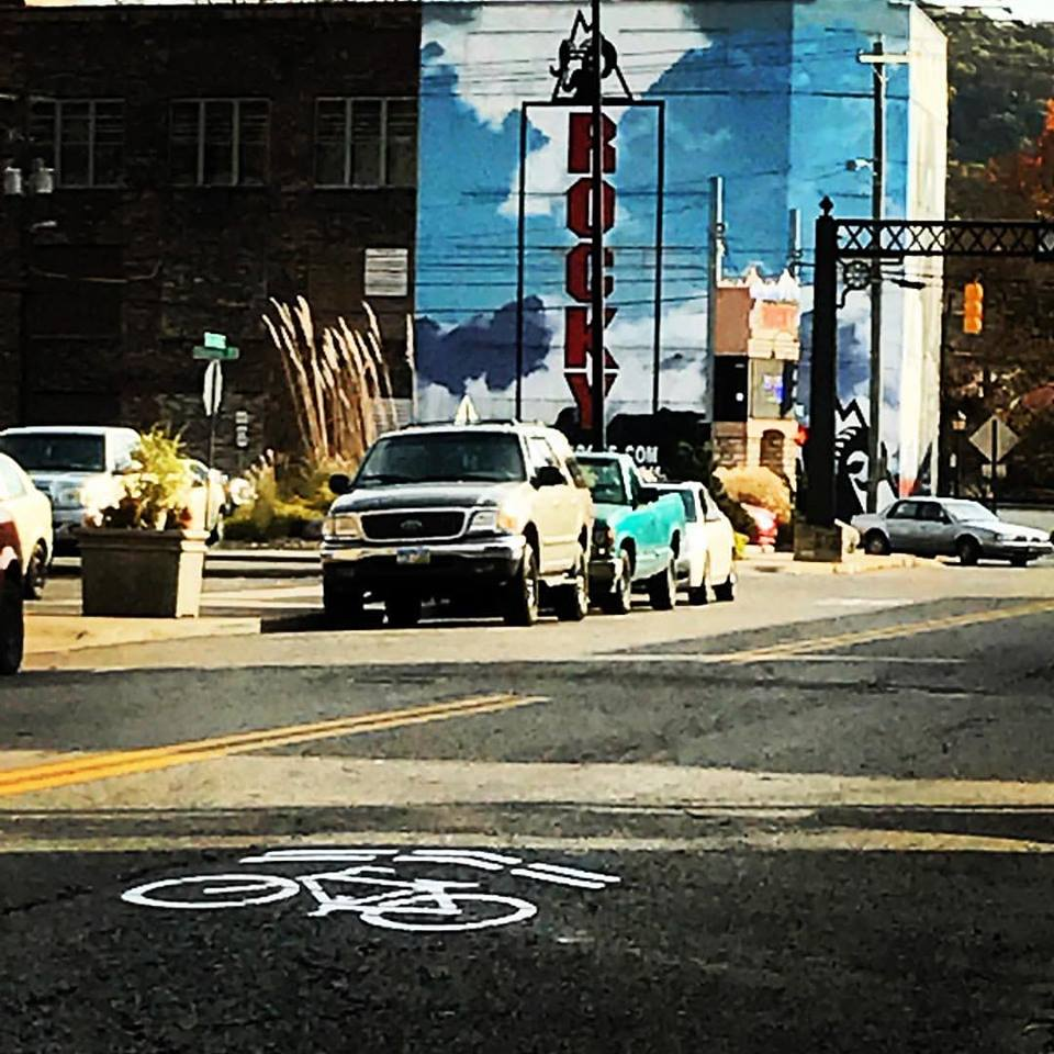 Downtown Nelsonville received sharrows just days after Yay Bikes! led a Professional Development Ride there