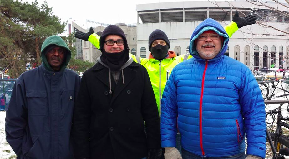 No matter the weather, you'll find Duane among the crew parking bikes (Duane = hero in the blue coat).