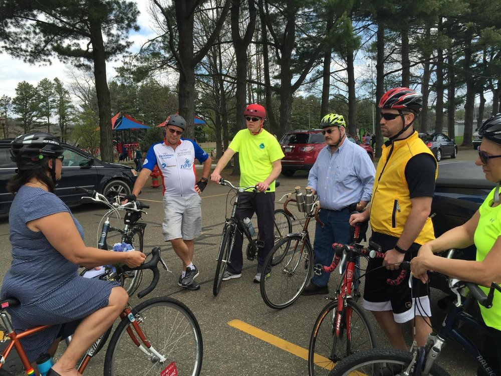 Catherine leads a Professional Development Ride in Dover, OH for representatives from the city and ODOT District 11. Photo credit: Deo Martinez