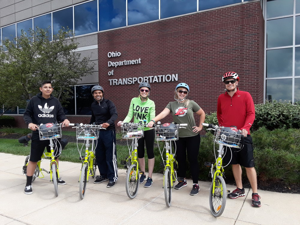 A crew of ODOT employees discovers how easy it is to bike the West Side. Photo credit: Meredith Joy