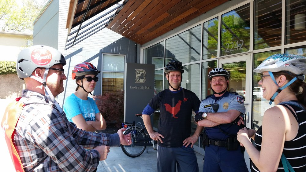 Yay Bikes! at Work:  Meeting with Bexley Service Director, Bill Dorman, Former Chair of Safety Committee, Bexley City Council Deneese Owen, Mayor of Bexley, Ben Kessler, Bexley Chief of Police, Larry Rinehart, Yay Bikes! Founder, Meredith Joy