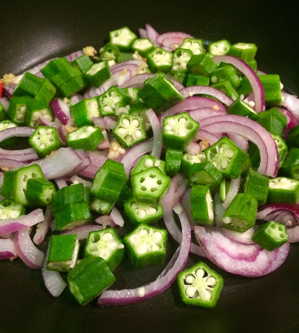 Onions and okra