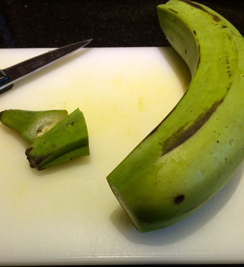 Cutting a Green Plantain