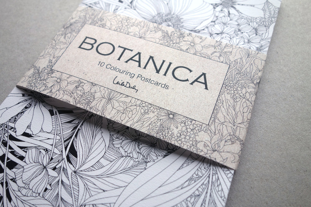 B O T A N I C A - SET OF 10 COLOURING POSTCARDS