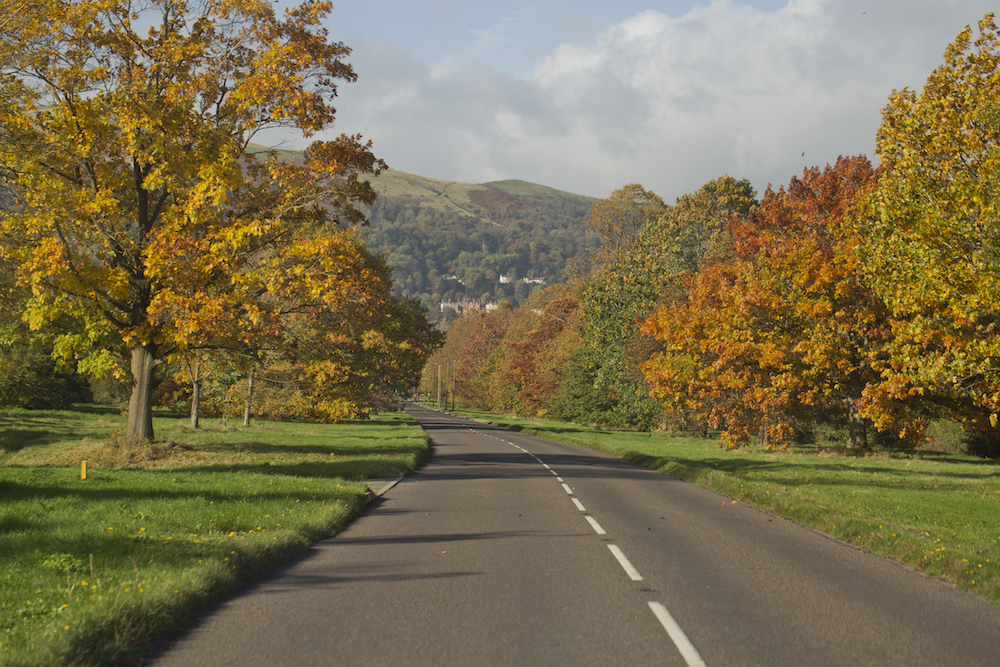 Autumn view, approach to Barnards Green, Malvern