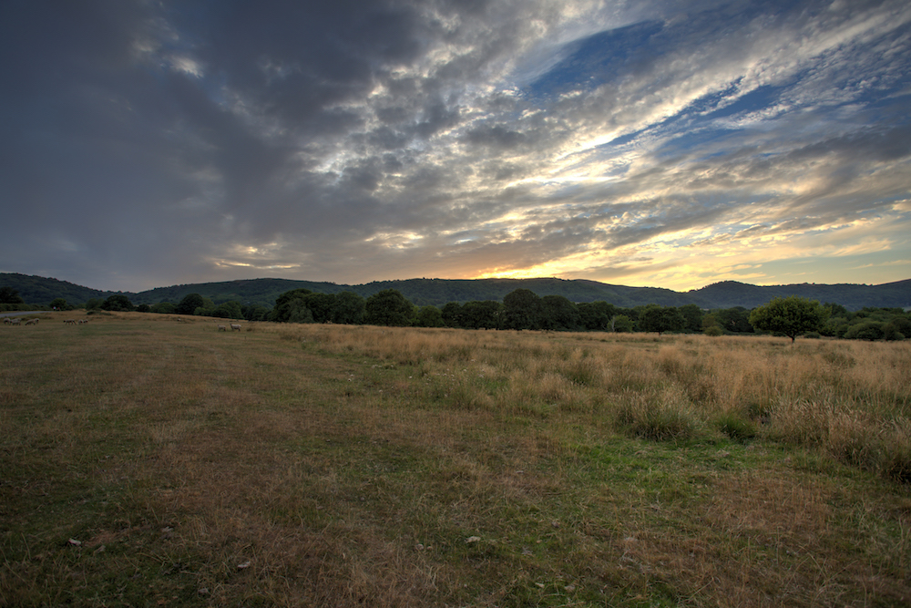 The Malvern Hills at sunset from Castlemorton Common