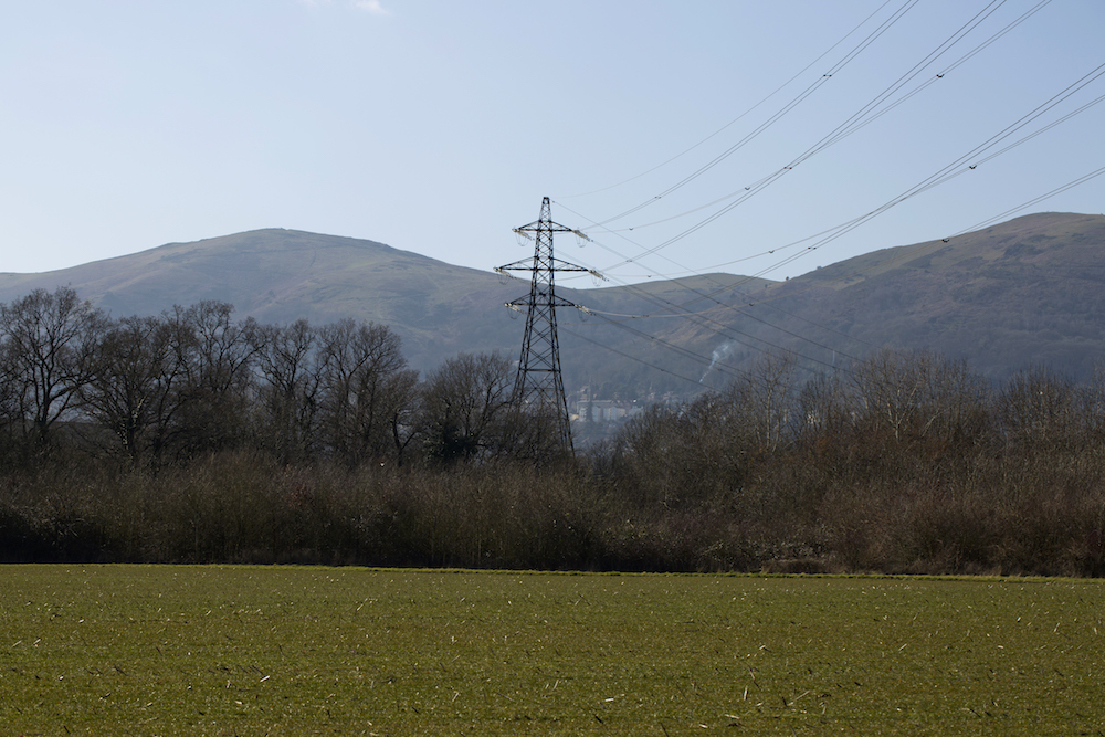 Pylon against the Malvern Hills