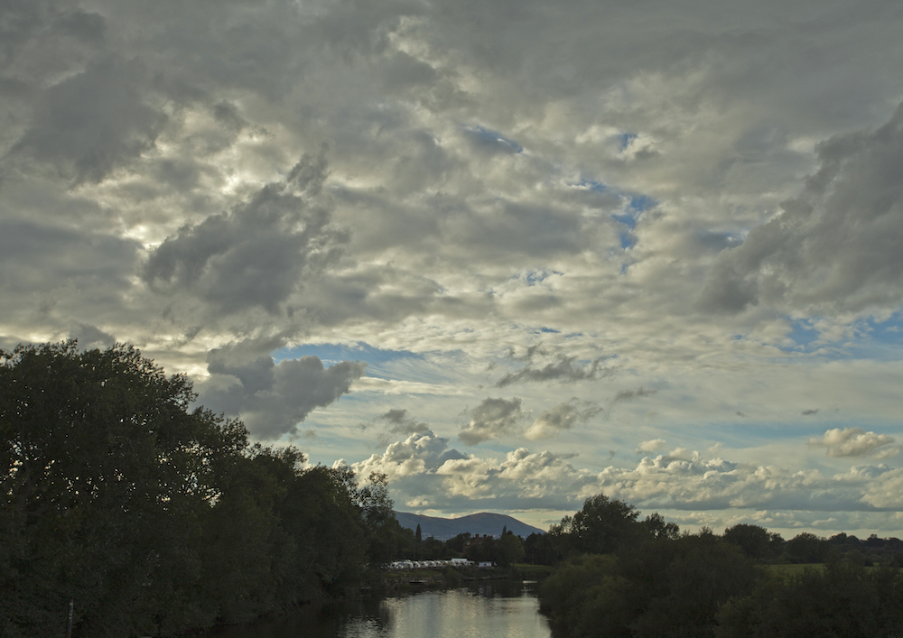 The Malvern Hills from the bridge at Upton-on-Severn, Worcestershire