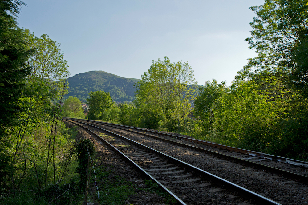 View of North Hill from the Railway track at Malvern Link