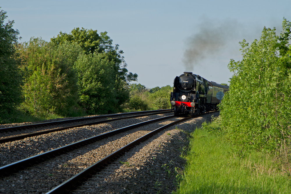 Steam train approaching Malvern Link Station