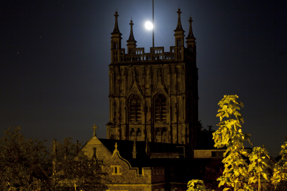 Malvern Priory at night