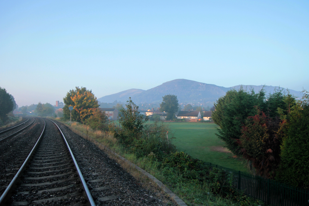 Misty view from Rail track Malvern Link