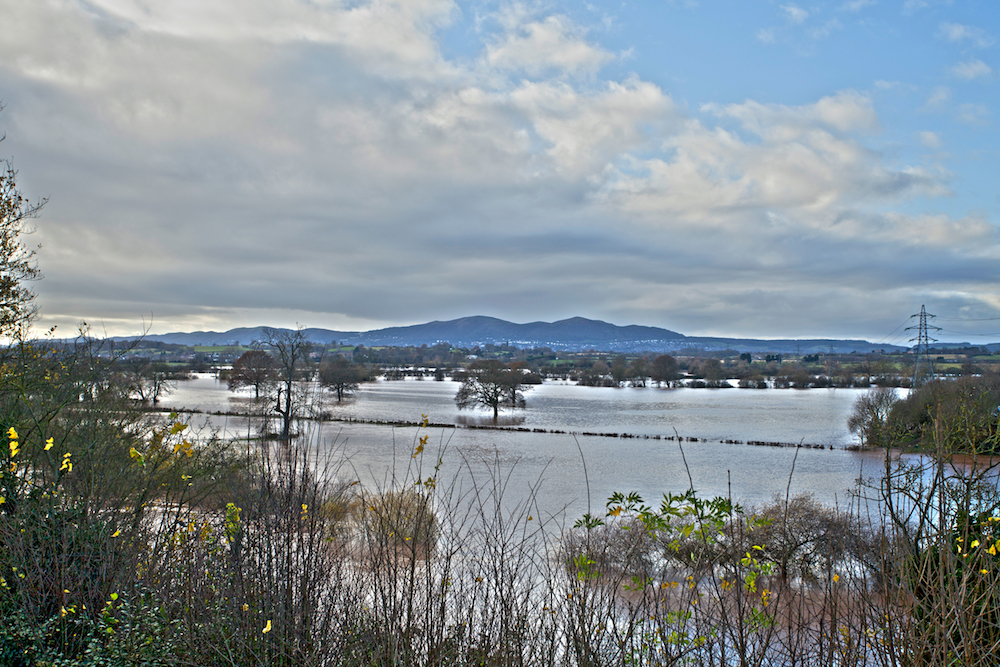 River Severn in Flood and Malvern Hills