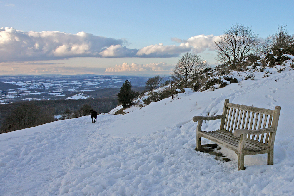 Bench in the snow, Sugar Loaf Hill, Malvern Hills