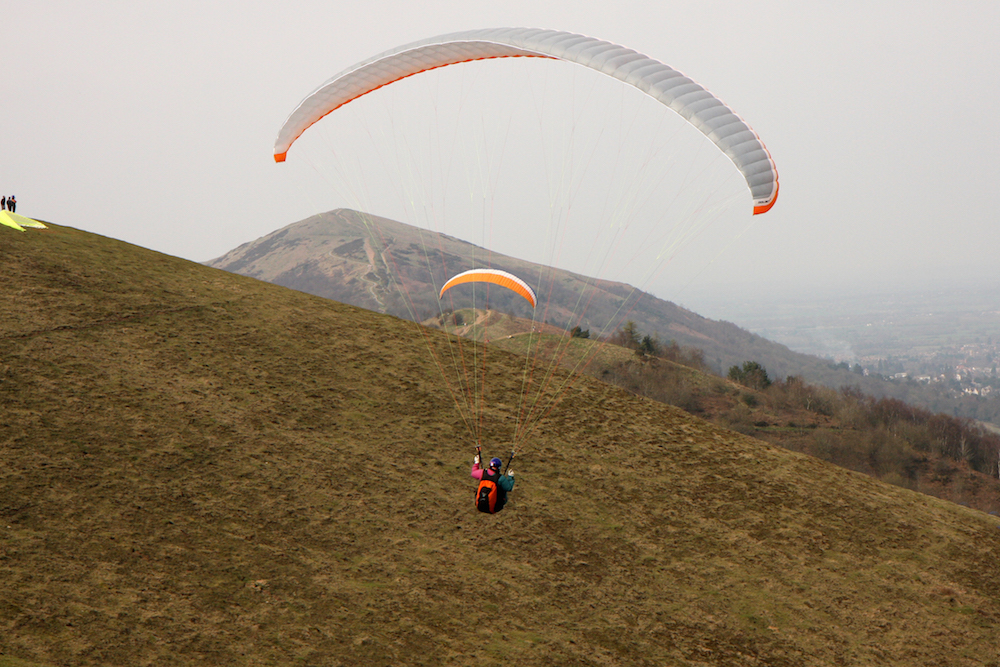 Paragliders on the Malvern Hills