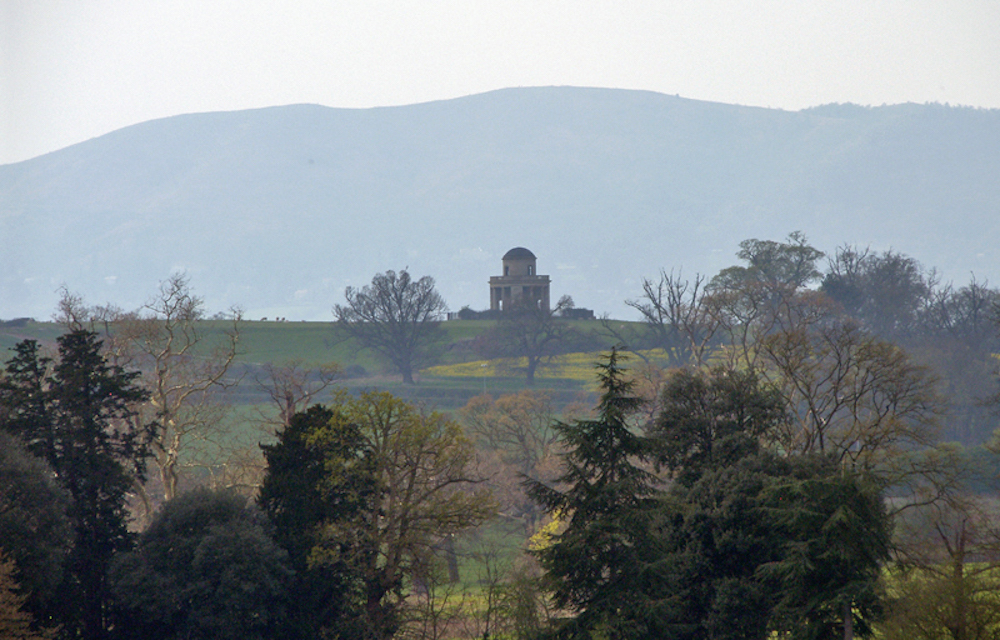 The Panorama Tower at Severn Stoke against the Malvern Hills