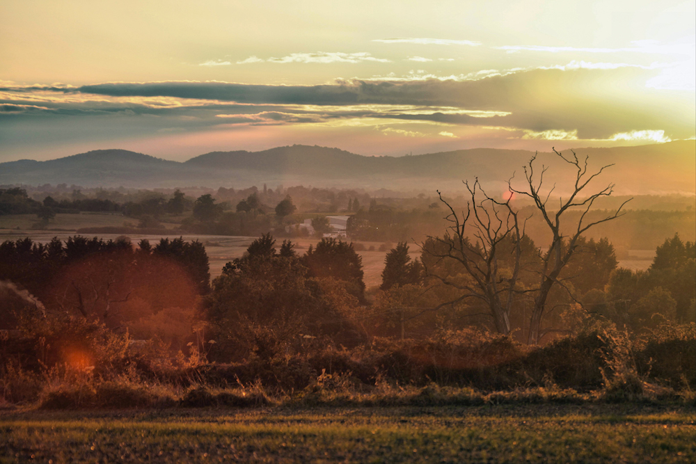 Sunset view of the Malvern Hills from Defford, Worcestershire