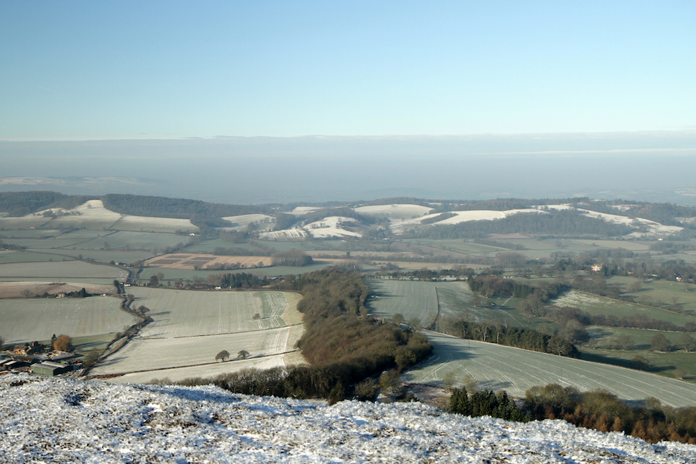 Winter view towards Herefordshire from the
