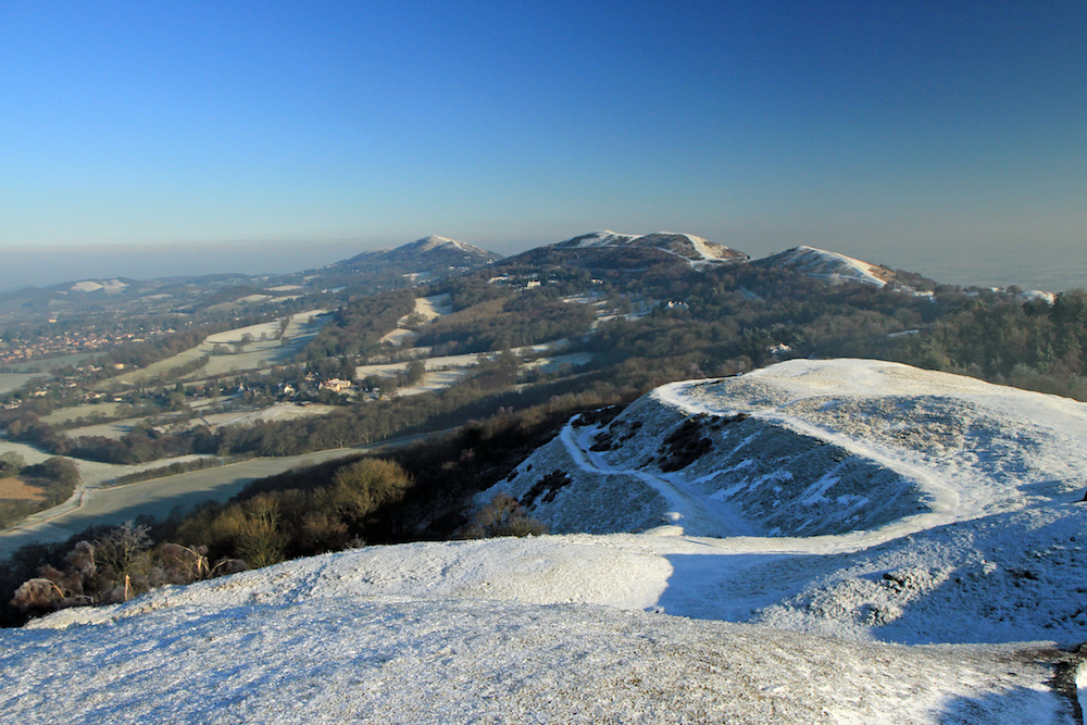 Winter view of the Malvern Hills from British Camp