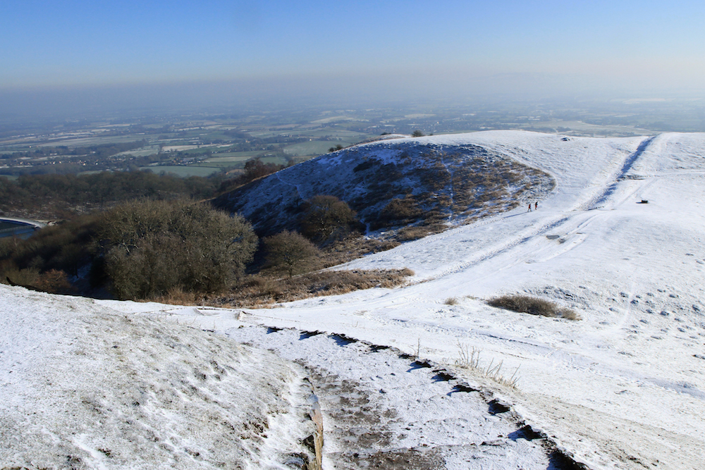 Frozen Steps up to British Camp, Malvern Hills