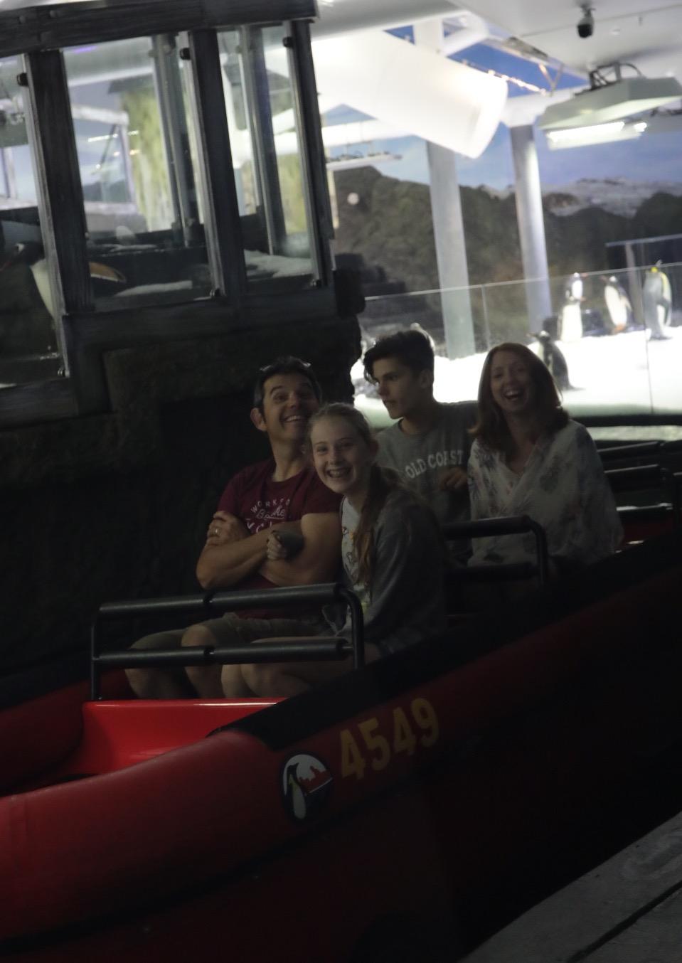 Jamie, Claire, Lewis & Ella on the penguin 'drive thru' :)
