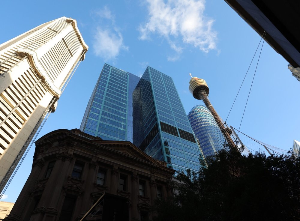 Street view looking up towards the Sydney Eye Tower