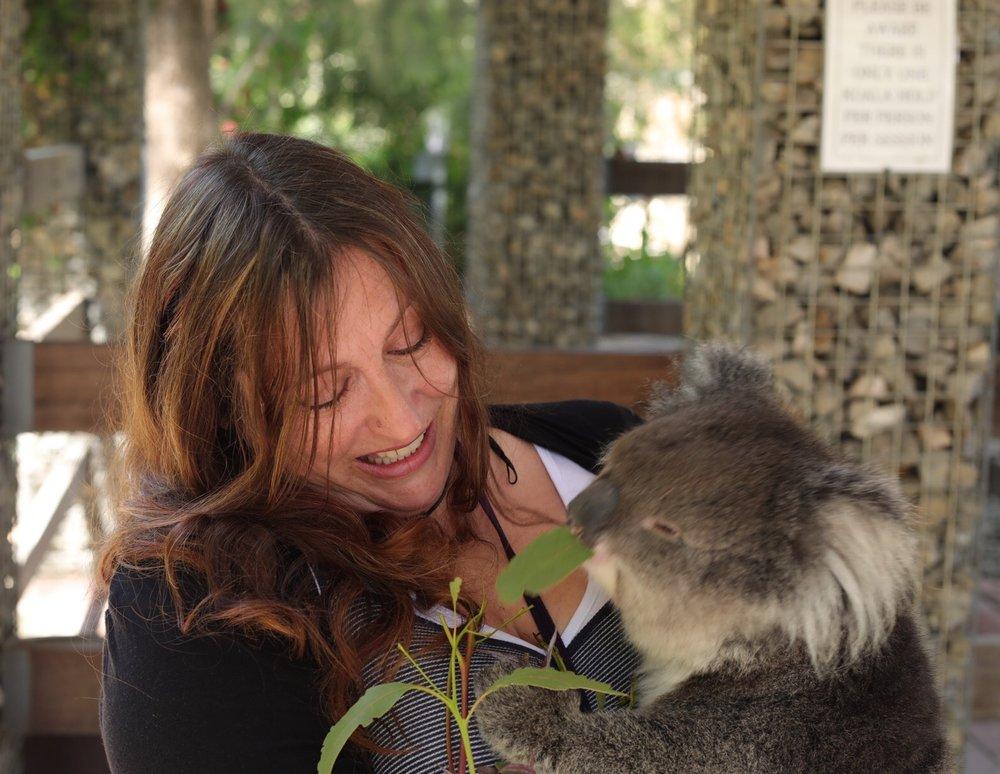 Cuddling Bella the koala