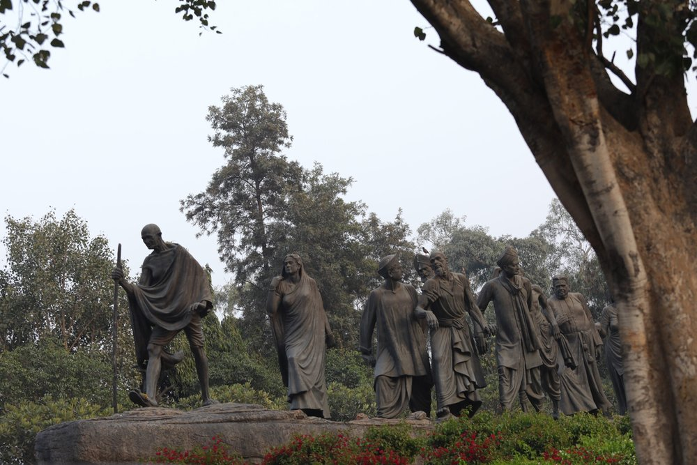 Monument to Mahatma Gandhi, the great Indian independence leader of the 20th Century.  https://en.m.wikipedia.org/wiki/Mahatma_Gandhi