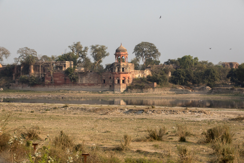 Ruined red building by the Yamuna River, Agra, Uttar Pradesh, India
