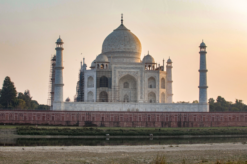 Taj Mahal near sundown from North of the River Yamuna, Agra, Uttar Pradesh, India