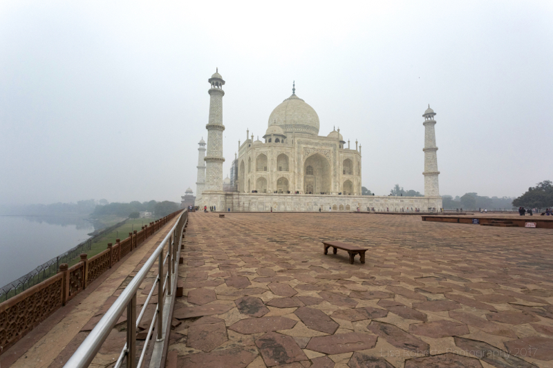 The Taj Mahal (Westerly view) & the Yamuna RiverWest view of the Taj Mahal from inside the mosque, Agra, Uttar Pradesh, India