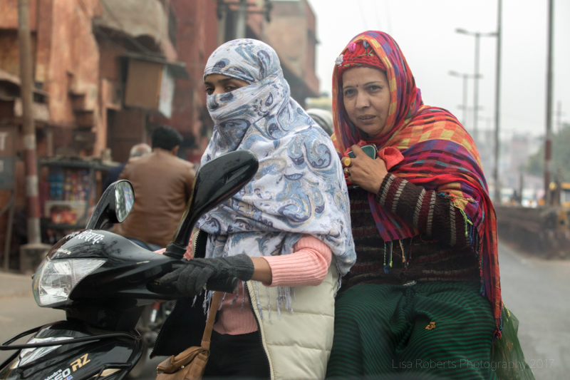 Ladies on moped, Agra, Uttar Pradesh, India