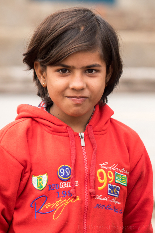 Girl in red top, Mathura, Uttar Pradesh, India