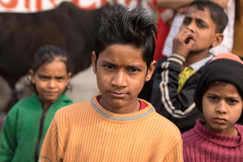 Boy in light orange jumper, Boy in green & white striped jumper, Mathura, Uttar Pradesh, India