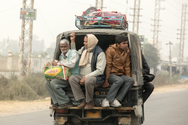 Tuk-tuk full of men, Mathura, Uttar Pradesh, India