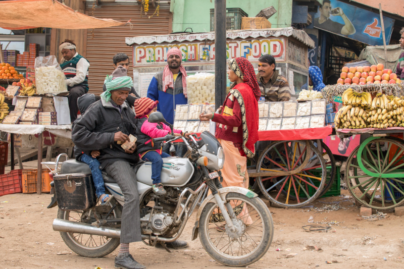 Family shopping, Jait, Uttar Pradesh, India