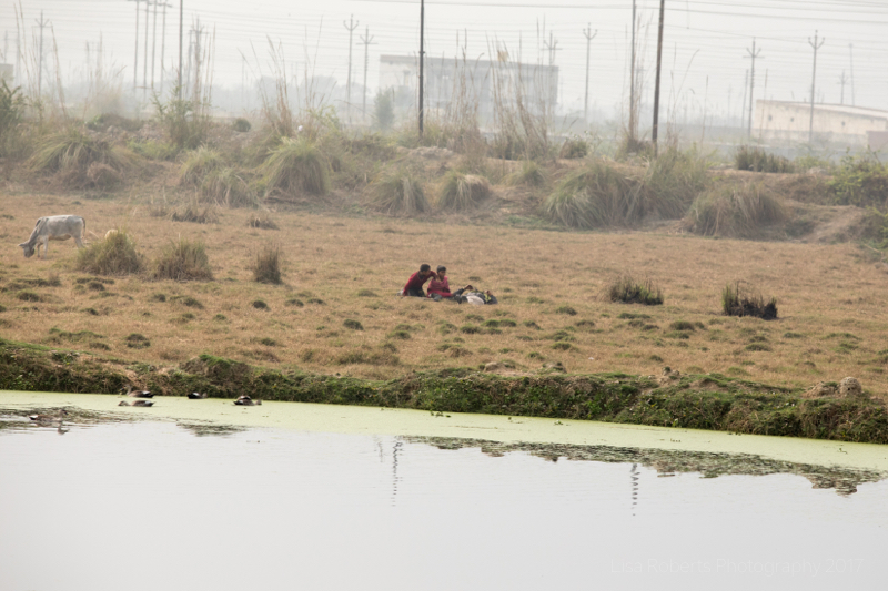 Relaxing by the river, Kosi, Uttar Pradesh, India