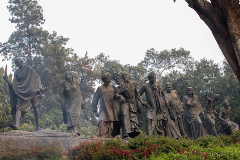 Statue of Mahatma Gandhi, leader of the Indian independence movement, New Delhi, India