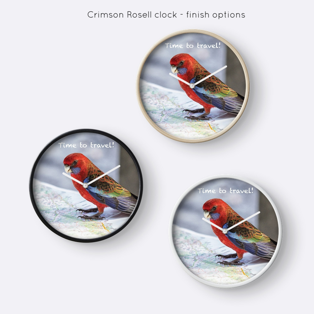 Crimson Rosella clock, finish options