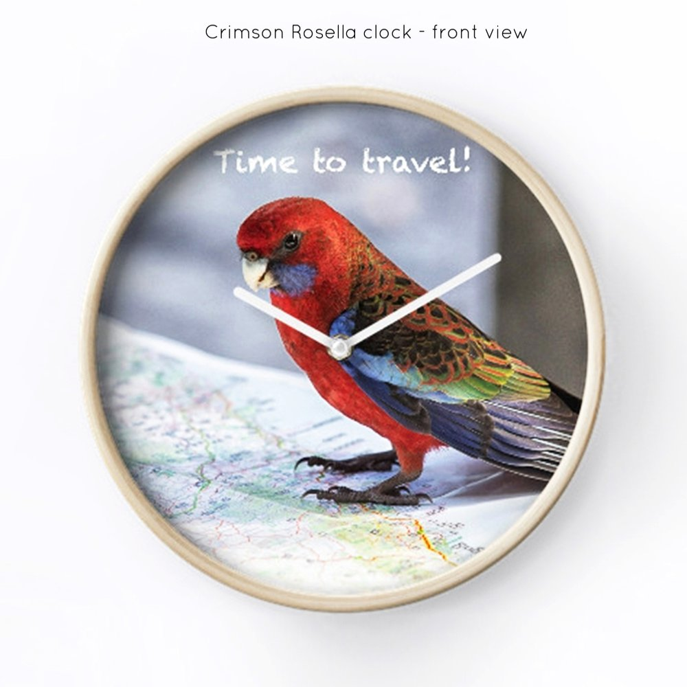 Crimson Rosella clock - front view