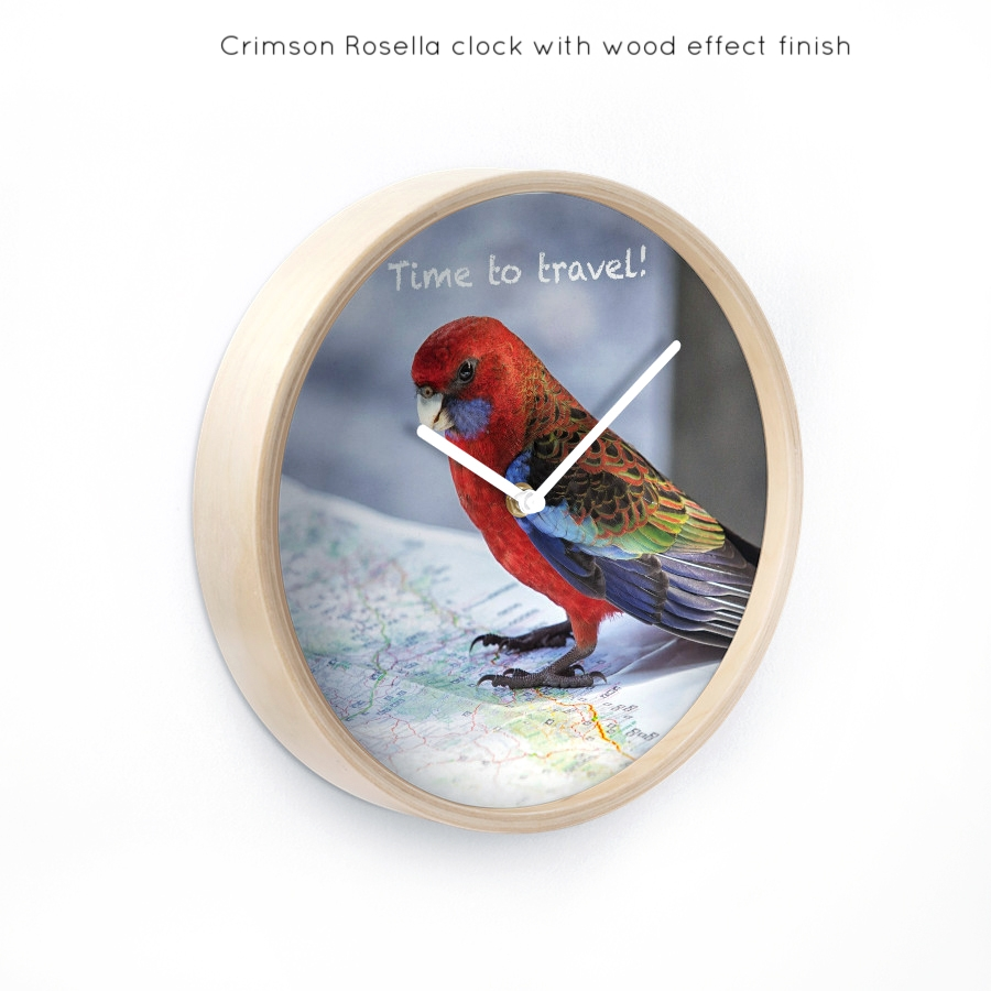 Crimson Rosella with wood effect finish