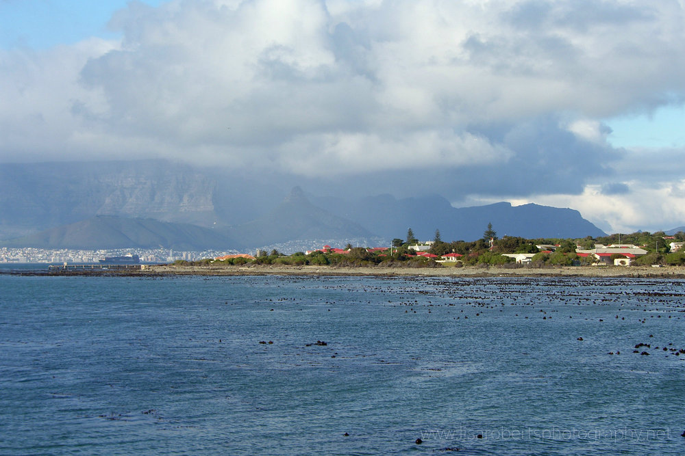 View of Robben Island and Cape Town, Western cape, South Africa