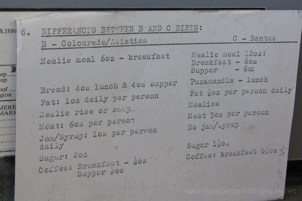 Old prison menu, Robben Island Prison, Western Cape, South Africa